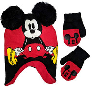 Beanie Cap  Disney Mickey Mouse Red Hat & Mittens Set 403338