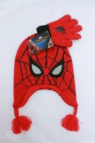 Beanie Cap  Marvel Spiderman Red Laplander Hat & Gloves Set 916794