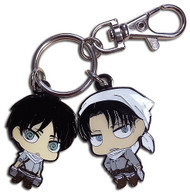 Key Chain Attack On Titan Sd Eren & Levi Cleaning Outfits Metal s ge85398