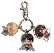 Key Chain Attack On Titan Eren, Mikasa, Armin Metal ge48046