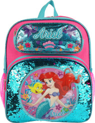 """Small Backpack The Little Mermaid Ariel Reverse Sequins 12"""" 008600"""