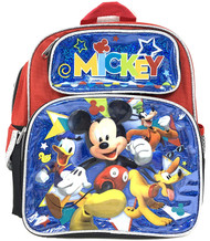"Small Backpack Mickey Mouse Friend Blue/Red 12"" 009465"