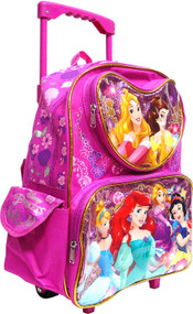 Small Rolling Backpack Disney Princess Cinderella Belle Aurora Rapunzel 000918-2
