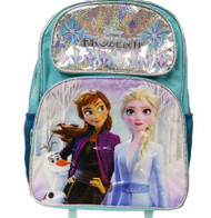 "Large Rolling Backpack Frozen 2 Ice Memory Light Blue 16"" 008389"