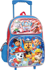 """Large Rolling Backpack Paw Patrol Blue & Red 16"""" 009670-2"""