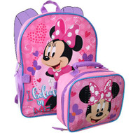 Backpack Minnie Mouse Happy Face Pink w/Lunch Bag INUA