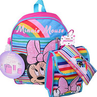 Backpack Minnie Mouse w/Lunch Kit, Bottle, Pencil Case & Carabiner