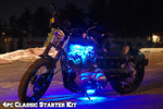 4pc LEDGlow Classic Blue LED Starter Motorcycle Lights
