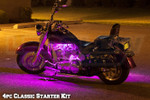 4pc Classic Pink LED Motorcycle Lighting Kit