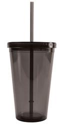 BPA-Free 16-Ounce Double Wall Acrylic Tumbler with Lid and Straw, Reusable, Smoke