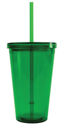 BPA-Free 16-Ounce Double Wall Acrylic Tumbler with Lid and Straw, Reusable, Green