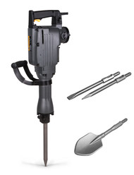 TR Industrial Electric Jackhammer with Point, Flat and Spade Chisels, ETL Listed