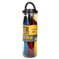 TR Industrial Assorted Nylon Cable Ties Set, 500 Pack of Assorted Colors and Sizes