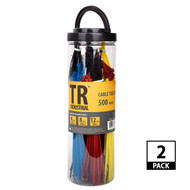 TR Industrial Assorted Nylon Cable Ties Set, 1000 Pack of Assorted Colors and Sizes