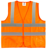 TR Industrial Orange Safety Vest, Medium, 2 Pockets Knitted, 5 Pack