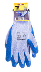 TR Industrial Polyester Base Working Gloves, Latex Coated Smooth Grip, Size XL