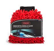 Presa Chenille Microfiber Premium Scratch-Free Wash Mitt and Microfiber Cloth, 3-Piece Set
