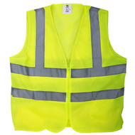 TR Industrial Yellow Mesh High Visibility Reflected Class 2 Safety Vest, No Pockets, Size L