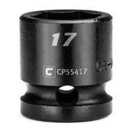 Capri Tools 17 mm Stubby Impact Socket, 1/2 in. Drive, 6-Point, Metric