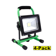 Capri Tools 20W LED Flood Lights, Lithium-Ion Rechargeable Battery, Pack of 4