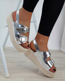 Arianna Silver Buckle Espadrille Platform Sandals