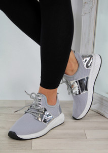 Lexi Grey/Silver Lightweight Slip On Trainers