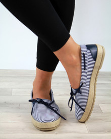 Claire Navy Bow Slip On Espadrilles