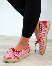 Claire Red Bow Slip On Espadrilles
