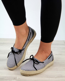 Claire Black Bow Slip On Espadrilles