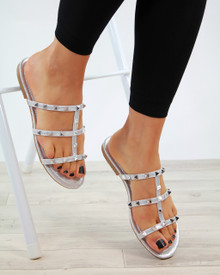 Emilia Silver Slip On Studded Sandals