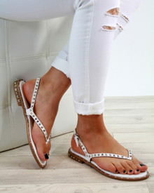 Grace White Studded Strappy Sandals