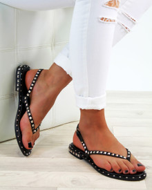 Grace Black Studded Strappy Sandals