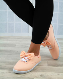 Phoebie Peach Bow Lace Up Pumps