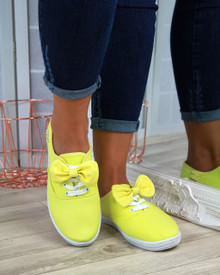 Phoebie Yellow Bow Lace Up Pumps