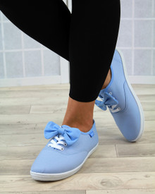 Phoebie Blue Bow Lace Up Pumps