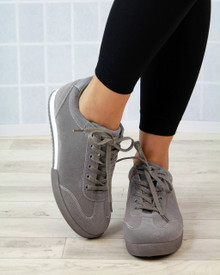 Nelly Grey Faux Suede Lace Up Trainers