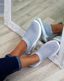 Kiki Grey Slip on Sock Trainers