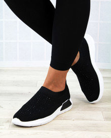 Kiki Black Slip on Sock Trainers