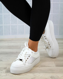 Hetty White Diamante Lace Up Trainers