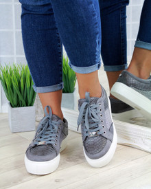 Hetty Grey Diamante Lace Up Trainers