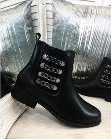 Oman Black Chain Chelsea Ankle Boots