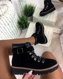 Tymber Black Lace Up Flat Boots