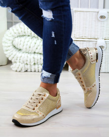 Kyra Gold Glitter Lace Up Trainers