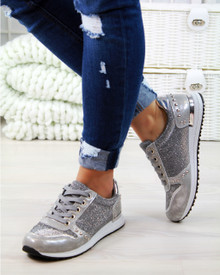 Kyra Grey Glitter Lace Up Trainers