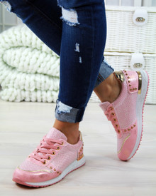 Kyra Pink Glitter Lace Up Trainers