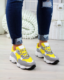 Destiny Yellow Chunky Lace Up Trainers