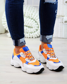 Destiny Orange Chunky Lace Up Trainers