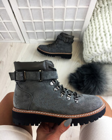 Tymber Grey Lace Up Flat Boots
