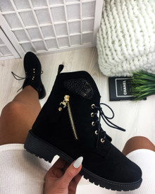 Serenity Black Lace Up Flat Boots
