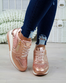 Jayla Rose Gold Diamante Shine Trainers